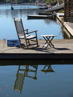 Stinson Beach - chair on the dock by RiseyP, via Flickr
