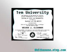 TEM UNIVERSITY DIPLOMA Graduate Joke Degree by 8BitBanana on Etsy