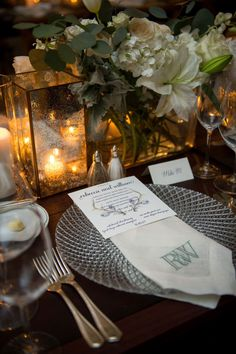 ann whittington events elegant rehearsal dinner southern style country club crystal charger hemstitch linen napkin monogram with menu card