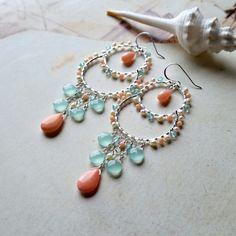 Beach Chandelier Earrings, Pink Mint Hoops, Pink Coral Chandelier by BellaAnelaJewelry on Etsy https://www.etsy.com/listing/599405785/beach-chandelier-earrings-pink-mint