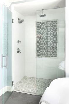 Powder Rooms \u0026 Master Baths \u2013 Grace Hill Design & Custom glass 6 x 4 walk in shower with rain shower head and 1 piece ...