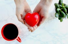 Cup of coffee, hands holding a heart and a plant Coffee Pictures, Coffee Cups, Plant, Hands, Vegetables, Food, Coffee Mugs, Meal, Coffee Images