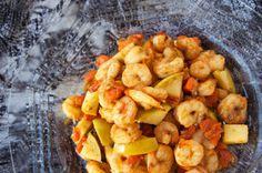 Креветки, жаренные в лимонно-чесночном соусе