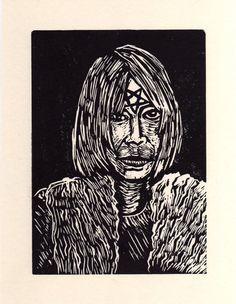 Kim Gordon Linocut Portrait by HorseAndHare on Etsy, $20.00