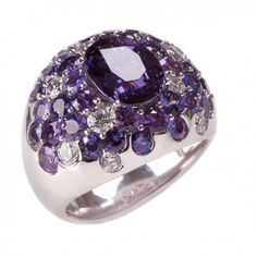 "Mark Patterson ""Tango"" ring with Diamonds and  different tones of Purple Sapphire..."