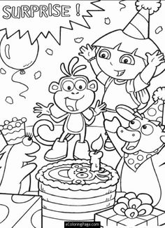 coloring page Dora the Explorer on Kids-n-Fun. Coloring pages of Dora the Explorer on Kids-n-Fun. More than coloring pages. At Kids-n-Fun you will always find the nicest coloring pages first! Nick Jr Coloring Pages, Cool Coloring Pages, Coloring Pages To Print, Free Printable Coloring Pages, Coloring Sheets, Coloring Books, Dora Coloring, Coloring Pages For Kids, Kids Colouring