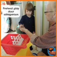 (Jan 15, 2013) Nico wanted to play store shopping where he goes around with his cart and puts stuff in, comes back and pays at his till. My mother was upstairs and decided to turn it into a door sales person game. His house was the bathroom (no idea why, he picked it), he would close the door and my