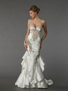 Sweetheart Mermaid Wedding Dress  with Natural Waist in Silk. Bridal Gown Style Number:33040932