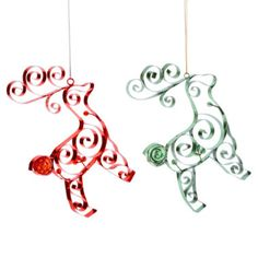 Glitter Brights Set of 2 Quilled Reindeer Ornaments found at Quilling Christmas, Reindeer Ornaments, Family Love, Washer Necklace, Wine Glass, Hanger, Christmas Decorations, Artsy, Place Card Holders