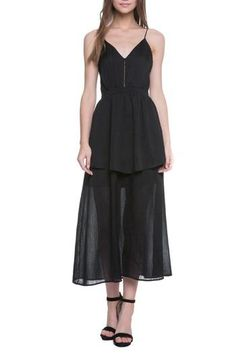 Black dress with thin straps, empire waistline and overlay detail in the body. Dress is lined to above the knee. High quality, lightweight fabric that is slightly pleated. Dress is perfectly tailored to flatter and shape the body form. Black Midi Dress, Peplum Dress, 15 Dresses, Formal Dresses, Valentines Day Dresses, Fabric, Age, Fashion, Moda