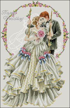 Happy Wedding by Dome Cross Stitch Fairy, Wedding Cross Stitch, Cross Stitch Love, Bead Loom Patterns, Cross Stitch Patterns, Ribbon Embroidery, Cross Stitch Embroidery, All Craft, Loom Beading