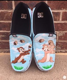 Chip and dale painted shoes Hello! I am Stephanie and I am the artist of my shop! I paint each shoe to order with 100% effort and care! Because my shoes are made to order it will take about 2 to 3 weeks for them to ship. If you need them by a certain date please message me and I