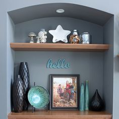 Picture result for floating shelves in wall niche – Fireplace Ideas 2020 Alcove Decor, Niche Decor, Wall Decor, Alcove Ideas, Wall Nook, Tv Nook, Décor Niche, Above Fireplace Decor, Houses