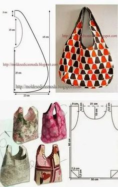Denim Bag Patterns, Hobo Bag Patterns, Sewing Patterns, Diy Bags Patterns, Patchwork Bags, Quilted Bag, Denim Crafts, Fabric Bags, Cloth Bags