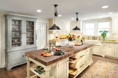 Butcher Block Countertop & Eggshell Cabinets... Nice Grey Hutch!