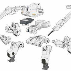Star Wars Concept Art, Robot Concept Art, Robots Drawing, Robot Parts, Robots Characters, Industrial Design Sketch, Gundam Art, Robot Design, Mechanical Design