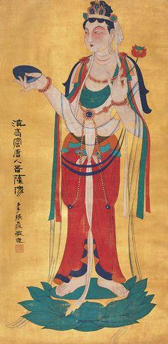 张大千 漠高窟唐人菩萨像 boddhisattva par Zhang daqian
