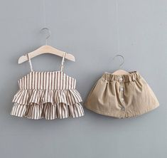 Summer Cotton Girls Clothing Sets Vest Two-piece Sleeveless Children Sets Casual Fashion Girls Clothes Suit Skirt 40 Fashion Kids, Toddler Fashion, Kids Outfits Girls, Toddler Outfits, Girl Outfits, Baby Frocks Designs, Cute Girl Dresses, Baby Dress Patterns, Baby Kids Clothes
