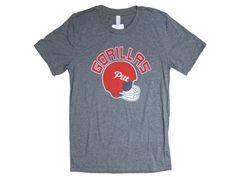 Pitt State Gorillas Old School Football Helmet American Apparel Mens T-shirt - Grey