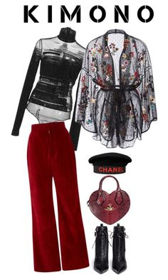"""""""Red for the Day"""" by drizzledazzle ❤ liked on Polyvore featuring Sergio Rossi, Chanel, Thierry Mugler, Rodarte, Vivienne Westwood, RED Valentino and kimonos"""