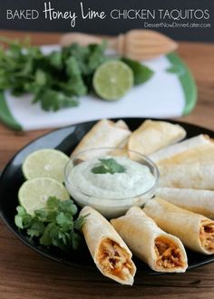 Baked Honey Lime Chicken Taquitos | DessertNowDinnerLater.com