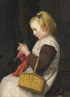 Knitting Girl with Basket by Albert Anker   Art Posters & Prints #yesterdayspaintingstoday