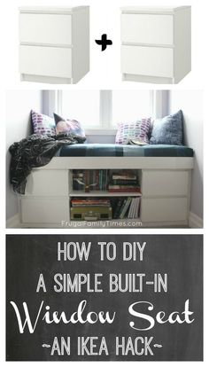 How to DIY a Simple Built-in Window Seat (an IKEA Hack!) Amazing How to DIY a Simple Built-in Window Seat (an IKEA Hack!) How to build a custom window seat from 2 Ikea Malm nightstands. This simple tutorial walks you through these basic DIY steps. An Ikea Decoration Bedroom, Diy Home Decor, Ikea Malm Nightstand, Nightstand Ideas, Malm Bed, Malm Dresser, Ikea Desk, Diy Hanging Shelves, Ikea Shelves