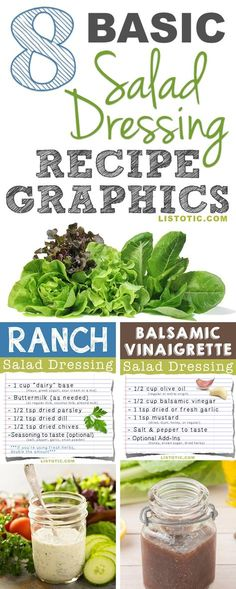 Easy Homemade salad dressing recipes are so much healthier and better tasting than store-bought! Everything from balsamic vinaigrette to a creamy ranch! Vinaigrette Salad Dressing, Salad Dressing Recipes, Salad Recipes, Arugula Recipes, Vingerette Dressing, Avacado Dressing, Zuchinni Recipes, Radish Recipes, Zoodle Recipes
