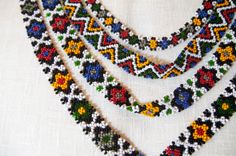 4-Strand Folk Necklace. Made by me on request from Alla Denissova, a fashion line designer for Alla Denissova Russian Traditional Costumes (http://www.alladenissova.com). Made off a picture of an authentic article.