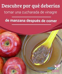 Descubre por qué deberías tomar una cucharada de vinagre de manzana después de comer  Puede que a más de a uno le sorprenda esta sugerencia: tomar una cucharada de vinagre de manzana después de comer se convierte en un remedio muy terapéutico para nuestra salud.
