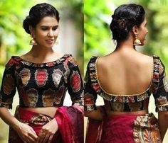 Front Neck Blouse Designs - It's Time To Try Something Trendy! Front Neck Blouse Designs – It's Time To Try Something Trendy! Black Blouse Designs, Simple Blouse Designs, Blouse Back Neck Designs, Stylish Blouse Design, Latest Blouse Designs, Indian Blouse Designs, Boat Neck Designs Blouses, Design Of Blouse, Kalamkari Blouse Designs