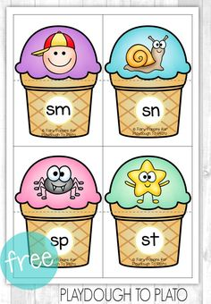 Teach Your Child to Read - Free Blends Ice-Cream Puzzles. Fun guided reading activity or word work center! - Give Your Child a Head Start, and.Pave the Way for a Bright, Successful Future. Kindergarten Language Arts, Kindergarten Centers, Kindergarten Reading, Teaching Reading, Reading Fluency, Preschool Kindergarten, Phonics Blends, Blends And Digraphs, Guided Reading Activities