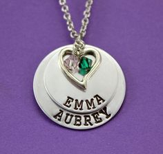 Mommy Necklace  Personalized Layered 2 Names by StampedFromMyHeart, $25.00