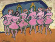 Ernst Ludwig Kirchner (Germany 1880-1938)Sechs Tãnzerinnen- Six Dancers (1911) oil on canvas 95.3 x 125.1cm