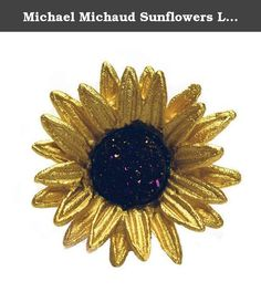 Michael Michaud Sunflowers Lapel / Tack Pin 5948. hand patinaed bronze. handmade in the USA. about 1 inch in diameter. comes with a description card and velveteen pouch. shipped in a foil gift box.
