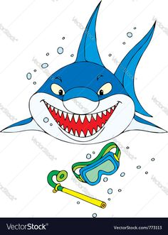 Big shark, mask and snorkel for diving. Download a Free Preview or High Quality Adobe Illustrator Ai, EPS, PDF and High Resolution JPEG versions.