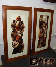 Miralo Enmarcado - Taller de Marcos Cuadros y Espejos: Enmarcado de pinturas del norte sobre papel - Marco lustrado chato y passepartout
