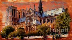 Notre Dame, Digital Art, Mansions, Wall Art, House Styles, Artwork, Painting, Kunst, Work Of Art