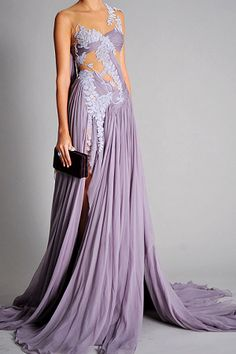 Marchesa Spring 2010 RTW Wisteria Chiffon Embroidered Draped Gown Profile ...    coolspotters.com