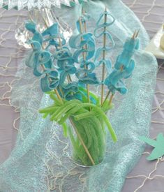 Candy skewers at a mermaid birthday party! See more party planning ideas at http://CatchMyParty.com!
