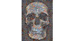Skull Heart Collage Print