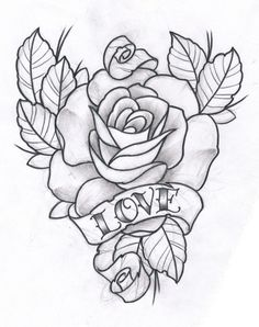 Rose and Love by ~TeroKiiskinen on deviantART Rose Drawing Tattoo, Tattoo Design Drawings, Tattoo Sketches, Cool Drawings, Drawing Sketches, Tattoo Designs, Beautiful Drawings, Rose Tattoos, Flower Tattoos