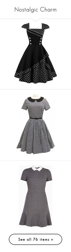 """Nostalgic Charm"" by firefly16 ❤ liked on Polyvore featuring vintage, adorable, classy, retro, dresses, dot dress, tea-length dresses, polka dot tea dress, tea party dresses and vintage rockabilly dresses"