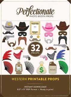 Printable Western Photo Booth Props | 32 Printable Cowboy Props | Instant Download | Western Photo-Booth Clipart