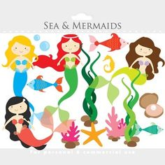 Mermaid clipart - mermaids clip art, little, sea, ocean, $3.40