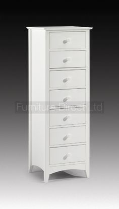 Cameo Stone White 7 Drawer Tall Chest | Furniture Direct Ltd