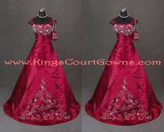 Size 8 Dark Red Taffeta Beaded Cap Sleeve Ball Gown Purse Prom Evening Dress Gown