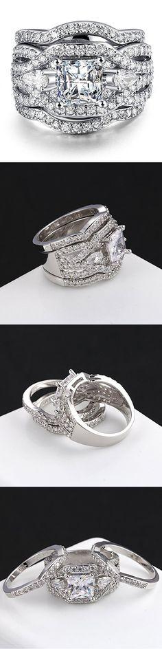 3 PCS Platinum Plated Princess Cut Synthetic Diamond Halo Cubic Zirconia CZ Infinity Wedding Bridal Ring Set (6)