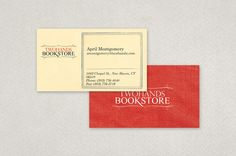 Local Bookstore Business Card Template - A local bookstore card could use this business card for employees. Clearly displaying all contact information, this card conveys an antique, cozy feel with its use of the red textured background paired with the worn-page look of the reverse side.