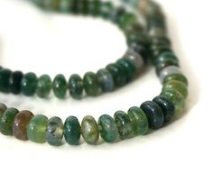 Moss Agate beads 6mm rondelle gemstone green by RiverSongBeads, $7.25